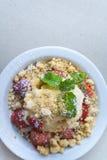 Strawberry crumble with ice cream Stock Photo
