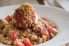 Strawberry Crumble Pancake Royalty Free Stock Photos