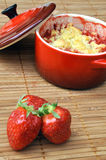 Strawberry crumble in a ramekin Stock Images