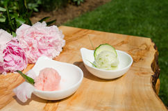 Strawberry and cucumber gelato or sorbet Stock Images
