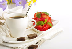 Strawberry with cup of coffee Stock Photo