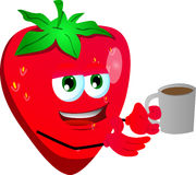 Strawberry with a cup of coffee Royalty Free Stock Photo