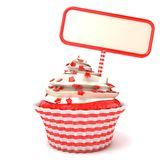 Strawberry cupcake and blank board. 3D render Stock Photos
