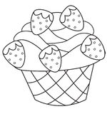 Strawberry cupcake coloring page. Useful as coloring book for kids Stock Photography