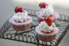 Strawberry cupcake on display. Strawberry cupcake with Strawberry on cupcake display Royalty Free Stock Photography