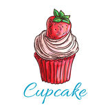 Strawberry cupcake or muffin sketch Royalty Free Stock Photos