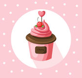 Strawberry cupcake muffin Vector illustration dessert.  Royalty Free Stock Photography