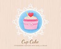 Strawberry cupcake with vanilla cream Royalty Free Stock Photography