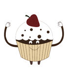 Strawberry cupcake vector illustration cartoon  on white Stock Images