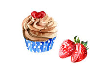 Strawberry cupcake. Watercolor sweet cupcake and Strawberry Royalty Free Stock Photo