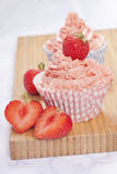 Strawberry cupcakes Stock Photos