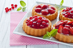 Strawberry and currant tarts. On a plate Stock Images