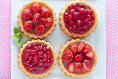Strawberry and currant tarts. On a plate Royalty Free Stock Photos