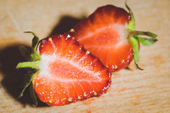 Strawberry cut close-up. Stock Image
