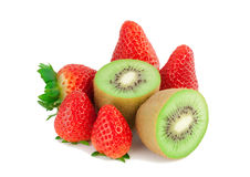 Strawberry and cut by a kiwi. 