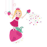 Strawberry cute fairy tale vector. Background Royalty Free Stock Photography