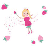Strawberry cute fairy tale vector Royalty Free Stock Images