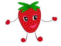 Strawberry. Cute fruit vector character set isolated on white vector illustration