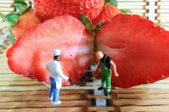 Strawberry cutting Royalty Free Stock Images