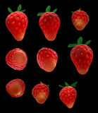 Strawberry 3d render. 3d image of strawberry in different angles, isolated on black background Royalty Free Stock Photos