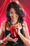 Strawberry daiquiri brunette Royalty Free Stock Image