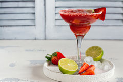 Strawberry daiquiri cocktail royalty free stock images