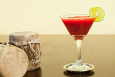 Strawberry Daiquiri with lime Royalty Free Stock Photos