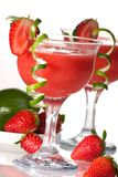 Strawberry Daiquiri - Most popular cocktails serie. Strawberry Daiquiri cocktails. Rum, strawberries, liqueur, lime juice garnished with strawberry and twist of Stock Photography