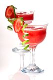 Strawberry Daiquiri - Most popular cocktails serie. Strawberry Daiquiri cocktails. Rum, strawberries, liqueur, lime juice garnished with strawberry and twist of Royalty Free Stock Photography
