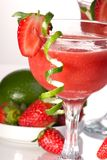 Strawberry Daiquiri - Most popular cocktails serie. Strawberry Daiquiri cocktails. Rum, strawberries, liqueur, lime juice garnished with strawberry and twist of Stock Photo