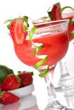 Strawberry Daiquiri - Most popular cocktails serie. Strawberry Daiquiri cocktails. Rum, strawberries, liqueur, lime juice garnished with strawberry and twist of Stock Image
