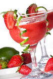 Strawberry Daiquiri - Most popular cocktails serie. Strawberry Daiquiri cocktails. Rum, strawberries, liqueur, lime juice garnished with strawberry and twist of royalty free stock photos