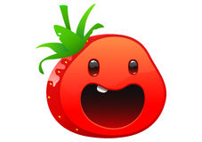 Strawberry delicious juicy bright cartoon face Stock Images