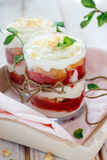 Strawberry desert. Trifle with fresh mint Stock Images