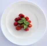 Strawberry desert plate Stock Photos