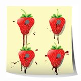 Strawberry design. Strawberries nailed on paper, background art Stock Image