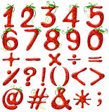 Strawberry designed numbers Stock Photo