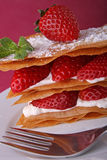 Strawberry dessert. Delicious strawberry dessert, mille feuille Stock Images