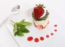 Strawberry Dessert. A colorful gourmet strawberry dessert cake on a plate Stock Photos