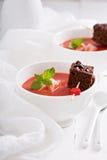 Strawberry dessert with chocolate cake Royalty Free Stock Image