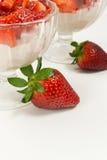Strawberry dessert. Close up of Close up of strawberry dessert with strawberrie Stock Photos