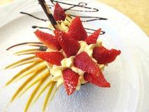 Strawberry dessert. With cream and chocolate Stock Photos