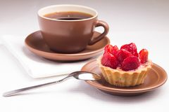 Strawberry dessert with Cup of Hot Tea Stock Photo