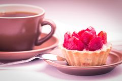 Strawberry dessert with Cup of Hot Tea Royalty Free Stock Photos