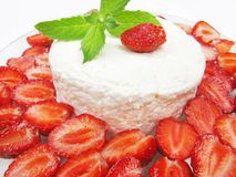 Strawberry dessert with dairy pudding Royalty Free Stock Photography