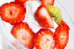 Strawberry dessert with fresh strawberries Royalty Free Stock Image