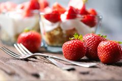 Strawberry dessert in a glass bowl Royalty Free Stock Photography