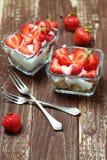 Strawberry dessert in a glass bowl Stock Photo