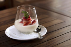 Strawberry dessert. A strawberry dessert in a glass ready to be served Royalty Free Stock Photo