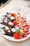 Strawberry dessert on restaurant table Royalty Free Stock Image